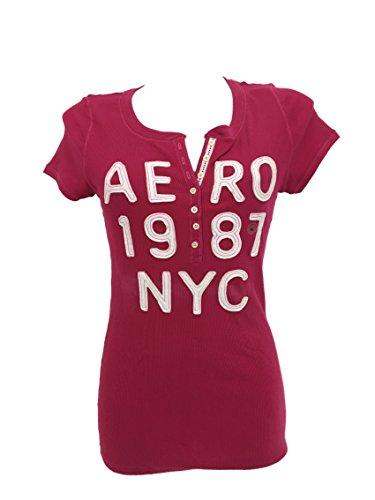 Aeropostal - Camiseta de manga corta para mujer rojo XL