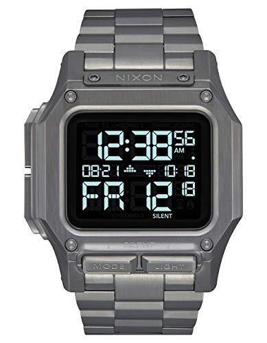 NIXON Regulus SS A1268 - Gunmetal - 100m Water Resistant Men's Digital Sport Watch (46mm Watch Face, 29mm-24mm Stainless Steel Band)
