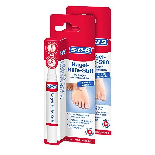 SOS Nagel-Hilfe-Stift, zur Nagelbehandlung bei Pilzinfektion, Hilfe bei Nagelpilz zur Verhinderung von Neu- und Weiterinfektionen, Nagelpilz-Stift reduziert Nagelverfärbungen, 2 x 4ml Stift