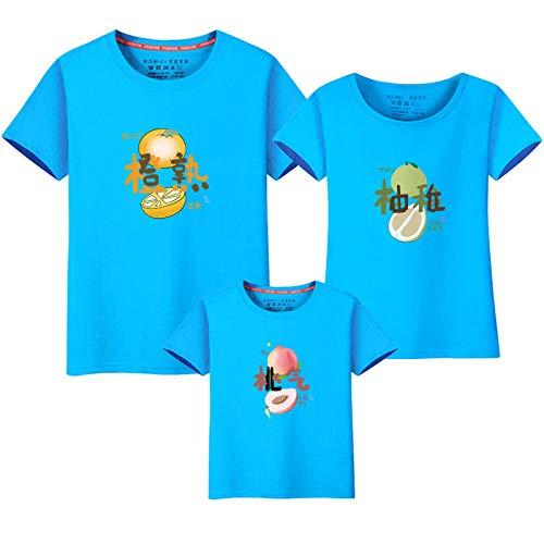 T-shirt Familia,Ropa de verano para padres e hijos para una familia de tres y cuatro 2021 nueva marea ropa de mujer para madre ropa familiar de manga corta de estilo occidental-Cielo azul_Mujer 4XL