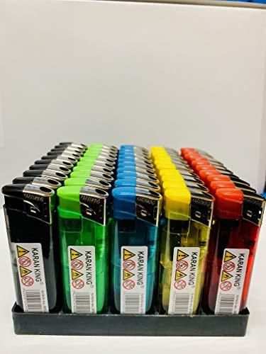 King Karan® Elektronisches Feuerzeug, 5 Farben, kindersicher, 50 Stück