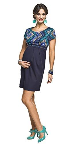 2in1 Elegantes und bequemes Umstandskleid/Stillkleid, Modell: Ronja, blau-türkis, Größe M