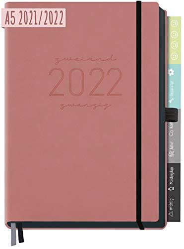Chäff-Timer Deluxe Kalender 2021/2022 A5 [Altrosa] Terminplaner 18 Monate: Juli 21 - Dez. 22 | Terminkalender, Wochenplaner mit Stiftschlaufe, Gummiband & Einstecktasche | nachhaltig & klimaneutral
