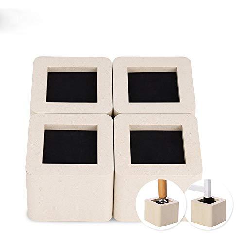 Möbelfüße, 4 Teile Bett Riser Elefantenfuß Betterhöhung Tisch Riser Möbelerhöher für Tisch Schreibtisch Bett Sofa, 10.5 * 10.5 * 8.5cm (Beige)