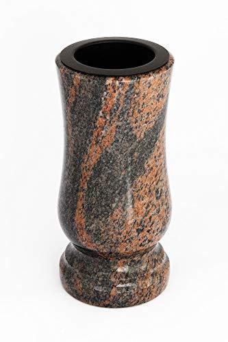 Afterglow Stilvolle Grabvase aus echtem Granit Gneis Barap Halmstad Höhe 20 cm/Ø 10 cm Grabschmuck wetterfest frostsicher Granitvase mit Kunststoffeinsatz Friedhofsvase
