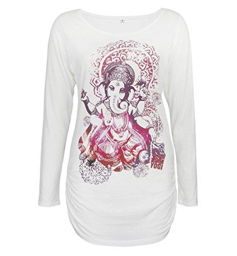 Natural Born Yogi Damen-Yoga & Pilates Groovy Ganesha Deluxe Yoga Langarmshirt, Weiß, S