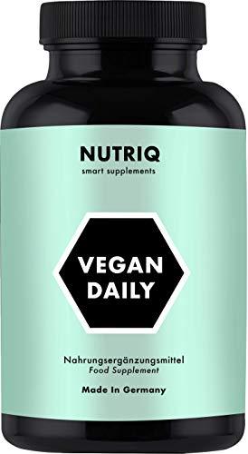 Multivitamine + Mineralstoffe Vegan Daily von NUTRIQ - 120 vegane Kapseln - mit Calcium, Eisen, Zink, Vitamin D3 / B12 & Jod - hochdosiert