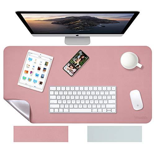Weelth Multifunktionale doppelseitig Schreibtischunterlage, 90cm x 43cm PU-Leder Tischunterlage ultradünn, wasserdicht, Mauspad für Büro/Zuhause