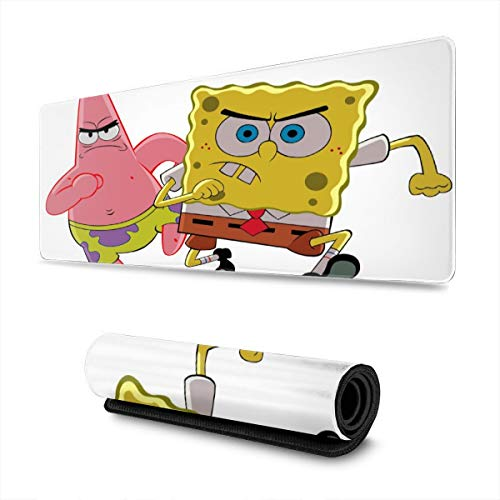 Anime Spongebob Gaming Mouse Pad Large Custom Mousepad Pads for Laptop Computer,12x31.5 Inch Desk Cover Computers Keyboard Stitched Edges Office Ideal Mouse Mat