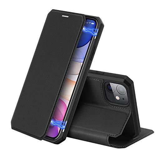 DUX DUCIS Hülle für iPhone 11, Premium Leder Magnetic Closure Flip Schutzhülle Handyhülle für Apple iPhone 11 Tasche (Schwarz)