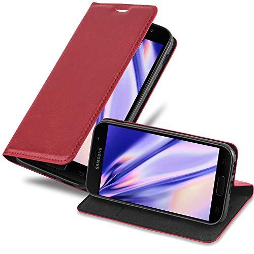 Cadorabo Hülle für Samsung Galaxy A3 2017 in Apfel ROT - Handyhülle mit Magnetverschluss, Standfunktion & Kartenfach - Hülle Cover Schutzhülle Etui Tasche Book Klapp Style
