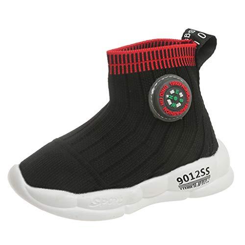 Zapatillas unisex para niños y niñas, zapatillas para exteriores, ligeras, de malla, con luz LED, color Negro, talla 28 EU