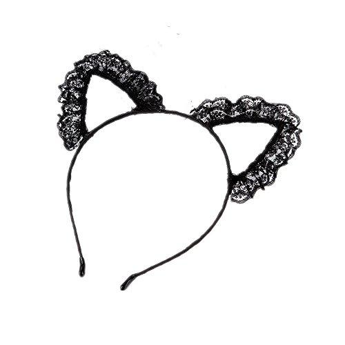Joyfeel buy 1 Pièce Chat Oreille Forme Noir Dentelle Femmes Enfants Bande de Cheveux Mignon Bandeau Cheveux Hoop Accessoires pour Partie/Danse Perform