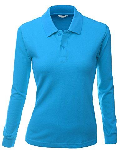 Xpril Poloshirt für Damen, langärmelig - Blau - XXX-Large