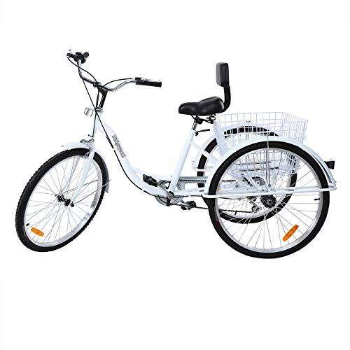 MuGuang Dreirad Für Erwachsene 26 Zoll 7 Geschwindigkeit 3 Rad Fahrrad Dreirad mit Korb(Weiß)