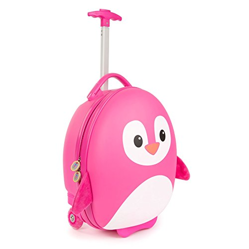 Boppi Tiny Trekker Kids Luggage Travel Suitcase Carry On Cabin Bag Holiday Pull Along Trolley Lighweight Wheeled Holdall 17 Litre Hand Case - Pink Penguin
