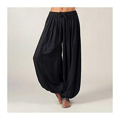 Casuales Mujeres Harem Pantalones Deportes Hippie Hippie Entrenamiento Pantalón Suelto Pantalones Sweatpants Solid Sports Pantalones Sueltos Danza Suave (Color : Black, Size : 3XL.)