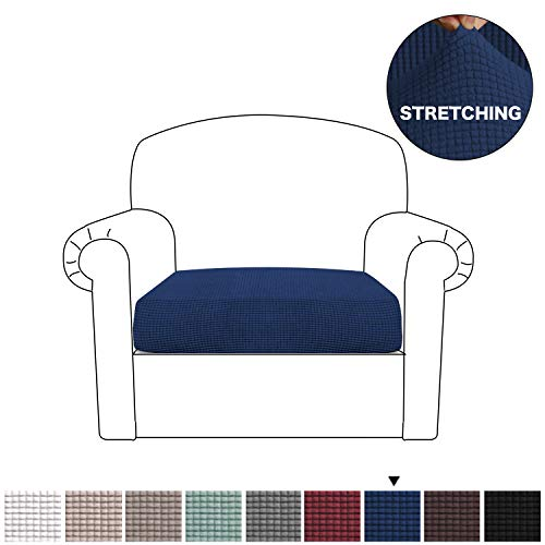 BellaHills Stretch Chair Slipcover Spandex Elastic Couch Cushion Covers Furniture Protector for Sofa Seat Cushion (1 Piece Cushion Cover, Navy)
