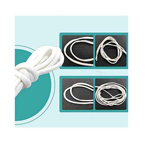 Iwähle Lightweight Rund Gummibänder für Gesichtsmaske DIY Ersatzteile Zubehör, Keine Belastung für die Ohren, Elastische Schnur Seil Ohrriemen, Weiß 5/10/20/30/50/200m (50M)