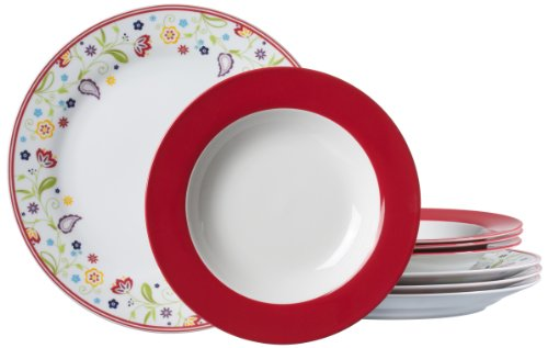 Ritzenhoff & Breker Tafelservice Doppio Shanti, 8-teilig, Porzellangeschirr, Rot