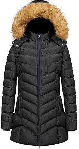 Womens' Long Water Resistant Puffer Jacket Soft Fleece Line Coat Black L