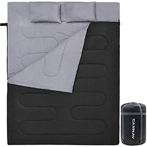 CANWAY Doppelschlafsack Deckenschlafsack 220 x 150cm für 2 Erwachsenen Sommerschlafsack mit 2 Gratis Kissen, eine Tragetasche für Outdoor Camping Wandern (Schwarz)