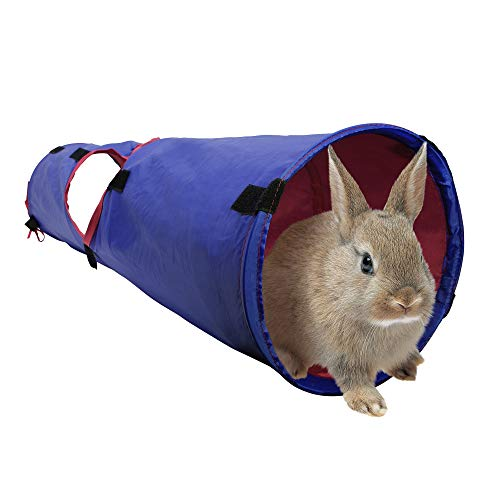 Living World Pet Tunnel, Small Animal Tunnel for Rabbits and Guinea Pigs, Blue/Red, 61397