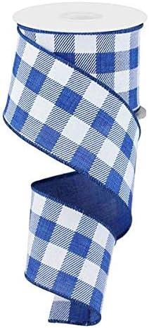 "Ribbon 1//4/"" inch Gingham Check Plaid Royal Blue White Patriotic FIVE yards"