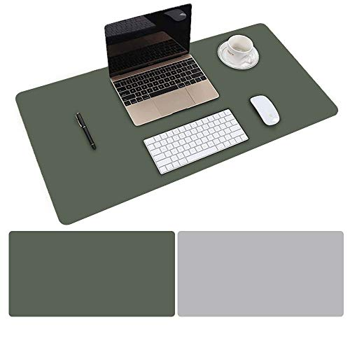 Mouse Pad Large Size 31.4 x 15.7 inch Double Sided Color Desk Pad with PU Leather XXL Mousepad for Laptops/Computers Work Gaming Office Home (Dark Green/Gray)