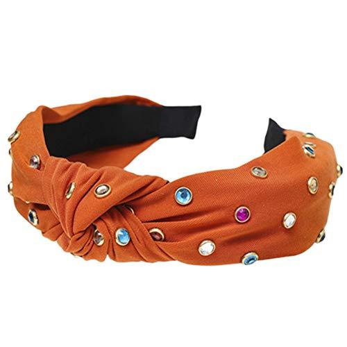 Dontdo - Aro de pelo con nudos para mujer, diseño de diamante artificial, accesorio para la cabeza naranja rojo