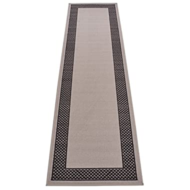 Pinoletti Border Design Printed Slip Resistant Rubber Back Latex Runner Rug and Area Rugs (Grey Black, 1'11  x 7')