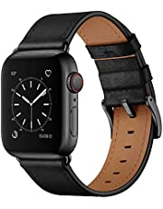 OUHENG Compatible with Apple Watch Band 44mm 42mm 40mm 38mm, Genuine Leather Band Replacement Strap Compatible with Apple Watch Series 7/6/5/4/3/2/1/SE