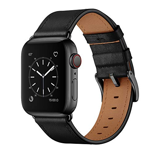 OUHENG Compatible with Apple Watch Band 45mm 44mm 42mm, Genuine Leather Band Replacement Strap Compatible with Apple Watch Series 7/6/5/4/3/2/1/SE, Black Band with Black Adapter