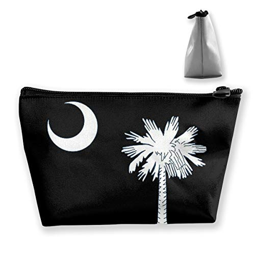 Iop 90p South Carolina Flag Tragbare Make-up-Tasche Trapeztasche für Reisen, Polyester, Schwarz, Einheitsgröße