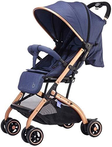 Cochecito portátil del carruaje del cochecito de bebé, cochecitos de cochecitos compactos, cochecito de cochecito de cochecito, sostenedor de taza, espacio de almacenamiento grande ( Color : Azul )