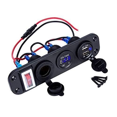 YYOMXXOM 4 en 1 Nuevo Voltímetro Digital + Toma de Corriente de 12V + Adaptador de Cargador de alimentación USB Dual Ciguero Encendedor de Cigarrillos con Interruptor de Rocker (Color Name : Blue)