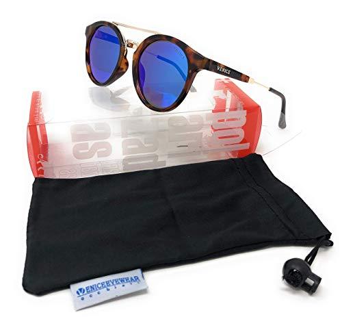 VENICE EYEWEAR OCCHIALI Gafas de sol Polarizadas DOUBLE BRIDGE- última moda - protección 100% UV400 ……(Carey-Azul)