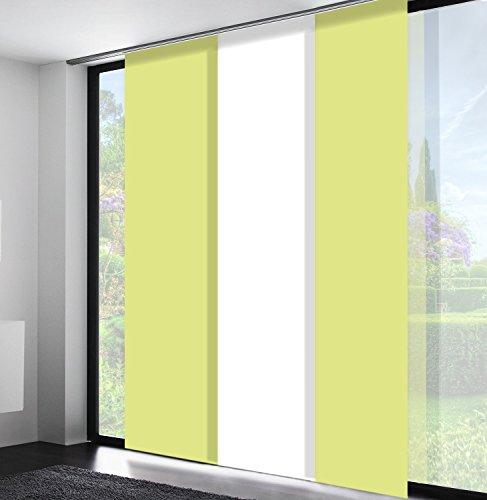 Sun World Schiebegardinen nach Maß, hochqualitative Wertarbeit, Maßanfertigung, Flächenvorhang, alle Größen, Schiebevorhang, Raumteiler, Blickdicht (197cm Höhe x 60cm Breite/Light Green)