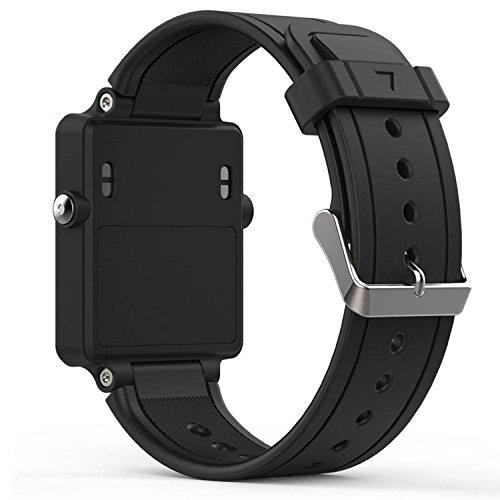 QGHXO Band for Garmin Vivoactive, Soft Silicone Replacement Watch Band for Garmin Vivoactive/Vivoactive Acetate (No Tracker, Replacement Bands Only) (Black)