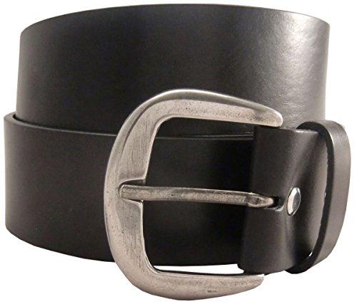 Jeansgürtel aus Vollrindleder 4,5 cm   Leder-Gürtel für Damen Herren 45mm   Breiter Ledergürtel aus echtem Leder   Schwarz 115cm