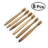 Rosenice - Spazzolino da denti in bambù naturale, ecologico, con setole morbide, 8 pezzi