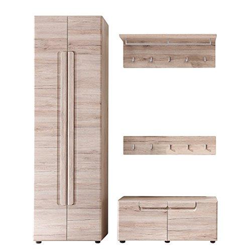 trendteam smart living Garderobe Garderobenkombination 4-teiliges Komplett Set Malea, 168 x 188 x 38 cm in Eiche San Remo Dekor mit viel Stauraum