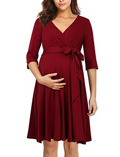KOJOOIN Damen Umstandskleid Schwangerschafts Kleid für Schwangere Stillkleid V-Ausschnitt Langarm mit Taillengürtel(Verpackung MEHRWEG) Weinrot S