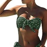 CheChury Bikini Mujer 2021 Dos Piezas Ropa con con Estampado de Lunares Traje de baño Conjunto de Bikini Push-Up Verano Acolchado Bra,Verde,L