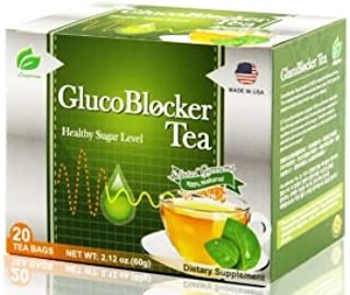GlucoBlocker Gymnema Green Tea - Clinically Proven for Diabetes Blood Sugar Control, 20 Bags