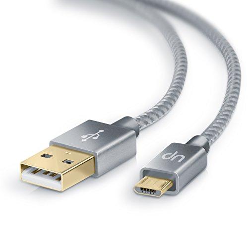 UpLink 3 Metros Premium Cable MicroUSB a USB de Alta Velocidad y de Datos - Nylon Trenzado - Cable de Carga rápida - Compatible con Android Samsung HTC Motorola Nokia LG HP Sony Blackberry - Plateado