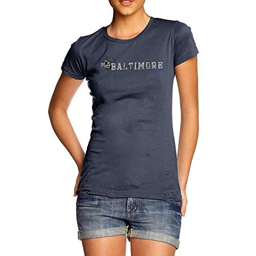 TWISTED ENVY Womens T-Shirt Funny Geek Nerd Hilarious Joke Baltimore American Football Established Medium Navy