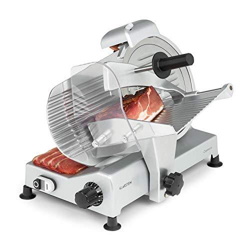 Klarstein Carpaccio Schneidemaschine Fleischschneider Meat Slicer, Leistung: 240 Watt / 282 U/min, Schneidedicke: 1 - 12 mm, Schnittfläche: 200 x 155 mm (BxH), silber