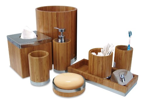 Nu Steel Ageless Bamboo Metal Bath Accessory Set For Vanity Countertop 8 Piece Luxury Ensemble Includes Cotton Swab Soap Dish Toothbrush Holder Tumbler Soap Pump Wastebasket Tissue Box Tray Buy Online In Suriname At