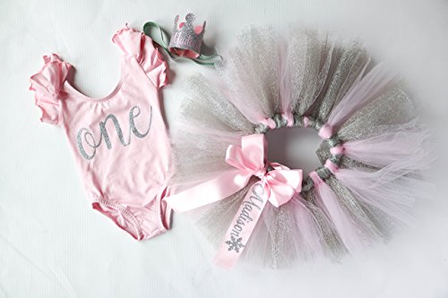 Tutu And Flutter Sleeve Bodysuit Party Crown 3 Piece Light Pink /& Silver Tutu Cake Smash Outfit 1st Birthday Set